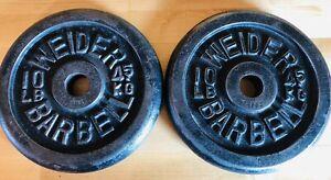 "Pair WEIDER 10 LB. Standard 1"" Hole Weight Plates - Cast Iron 20 LBS TOTAL"