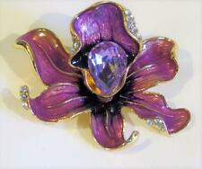 Pendant - Gold Plated Cg6824.Purple Enamelled Orchid Brooch or