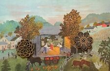 Vtg Grandma Moses Art Print American Folk NEW ENGLAND AUTUMN FALL SCENES
