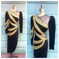 CUSTOM MADE 1980's Vintage 80s Hand Beaded Sequined Velvet Gown Evening Dress S