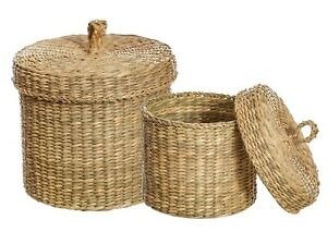 Sass & Belle (Set of 2) Seagrass Baskets with Lid Storage Make up, Stationary