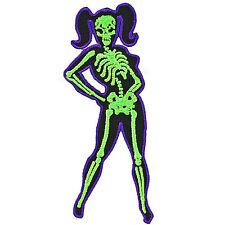 Kreepsville 666 Skelli Girl Pigtails Iron On Patch Rockabilly Pin Up Skeleton