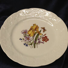 """LIERRE SAUVAGE CNP WILDFLOWERS OF FRANCE SALAD PLATE 8"""" EMBOSSED GRAPES RIM D"""
