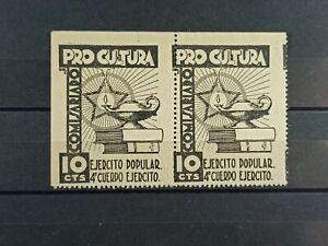 IBERMONEDA   Lote 2 Sellos Guerra Civil Republica Pro Cultura , Ejercito Popular
