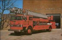 Memphis TN Fire Engine Truck & House 1975 Postcard
