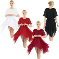 Damen Asymmetrische Chiffon Kleid Elegant Tanzkleid Ballettkleid Tanz Kostüm