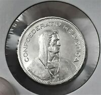 1937B SWITZERLAND 5 FRANCS SILVER COIN, LOW MINTAGE, BETTER DATE, KM# 40,GEM BU