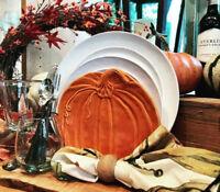 Pottery Barn Set 4 Pumpkin Salad Plates Orange 9D Thanksgiving Halloween Rustic