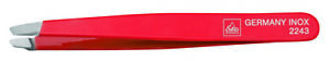 Becker-Manicure Germany - Tweezers Stainless Red Varnished Oblique - Erbe