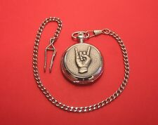 Rock On Design Pocket Watch Pewter Front Albert Chain Fathers Heavy Metal Gift