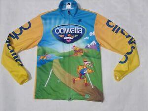 Odwalla men's medium yellow blue long sleeve zip up cycling jacket jersey