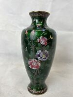 Beautiful Vintage Cloisonne Vase Decorated With Flowers And Butterflies. Green