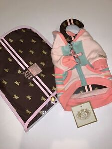 Juicy Doggy Couture Striped Zip Up Hoodie Cotton Terry Boutique Dog Pink NWT
