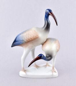 Hollohaza Porcelain (Hungary) Bird Figurine - Pair Of Ibis