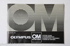 Olympus OM 35mm Camera System Sales Chart Brochure English De Fr Es USED B40 GD