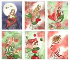 CHRISTMAS 3 MERMAID NOTE CARDS from Original Watercolors by Camille Grimshaw