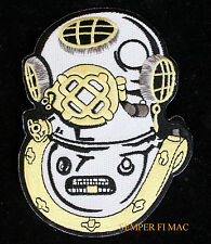 US NAVY DEEP SEA DIVER USS MARK V HELMET IRON ON GOLD OUTLINE COLLECTORS PATCH