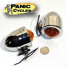 BULLET STOP TURN SIGNAL LIGHT CHROME AMBER SINGLE FIL PAIR - HARLEY REPOP BOBBER