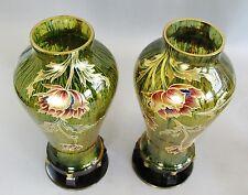 """Fine Pair of Mounted Bohemian 13"""" Art Nouveau Glass Vases c. 1920  Gilt Enamel"""