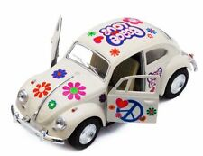 "Kinsmart 5"" 1967 VW Classic Beetle Peace Decals Diecast 1:32 Volkswagen White"