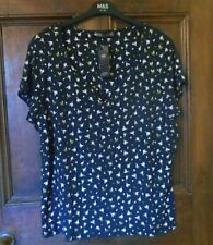 *M & S* Soft Viscose Stretch TOP / BLOUSE Size 24 BNWT Short Sleeve Navy