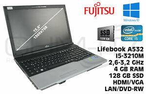 """Fujitsu Lifebook A532 15,6"""" Core i5-3210m 4GB RAM128 GB SSD Win 10 Notebook"""