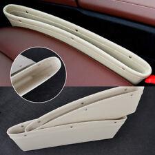 2x Beige PU Leather Seat Slit Gap Pocket Catcher Box Organizer Storage Holders