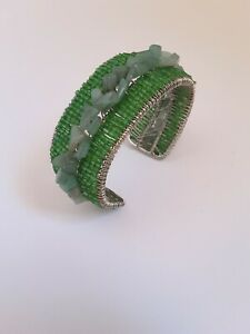 NEW ANTHROPOLOGIE GREEN AGATHA AND BEADS WIRED BRACELET
