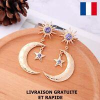 Boucle D'oreille Lune Dorée Cadeau Bijou Femme Soirée Mariage Fête Des Mères