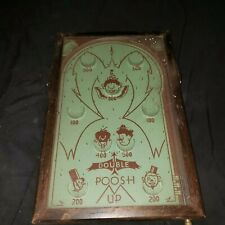Antique Double Poosh-M-Up Clowns Pin Ball Toy Table Top Game Wall Decor