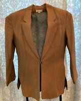 ANN TAYLOR Fully Lined Tan 3-Button Linen Blazer Career Jacket Sz. 10 Brown