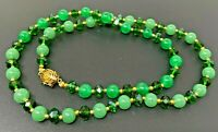 Vintage Natural Green Jade Austrian Crystal Gold tone Beaded Necklace 22""