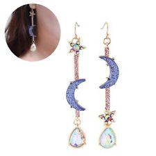 Fashion Jewelry Blue Moon Earrings Star Planet Studs Asymmetric Dangle Earring