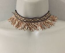 Bohemian Brown and White Pattern Fabric Choker Necklace w Thread Tassel Fringes