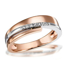 Goldmaid Gold Ring 585 Rotgold Bicolor 7 Brillanten 0,08 ct. Echtschmuck Glamour