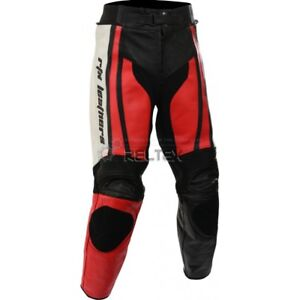 RTX Raptor Red & White Motorbike Biker Motorcycle Armoured Leather Trouser Pants