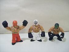 LOT OF 3 WWE RUMBLERS REY MYSTERIO PVC ACTION FIGURES 2010 RED WHITE BLACK PANTS
