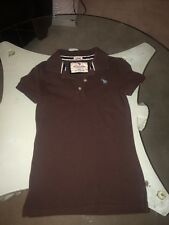 Girls Abercrombie Brown Pique Polo Shirt Top Small S