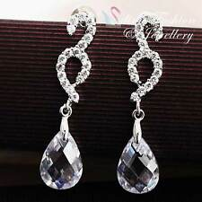 18K White Gold GP Simulated Class Crystal & Diamond Clear Water-drop Earrings