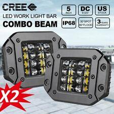 """2x 5"""" Flush Mount LED Pods Spot Flood Flush Driving lights Work Lights for Jeep"""