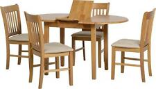 Oxford Extending Dining Set in Natural Oak With X4 Mink MicroSuede Chairs