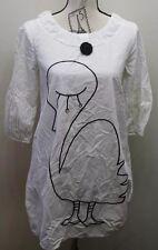Vintage Women White Dress Moo Moo Puff Sleeve Balloon Duck Beaded Button