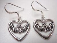 Claddagh in Heart Dangle Earrings 925 Sterling Silver love loyalty & friendship