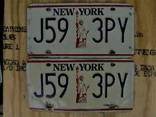 1987-2000 NEW YORK LIBERTY LICENSE PLATE # J59 3PY  PAIR
