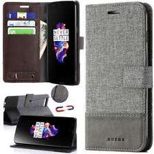 For OnePlus 3T 6 5T Luxury Canvas Leather Magnetic Wallet Card Stand Case Cover