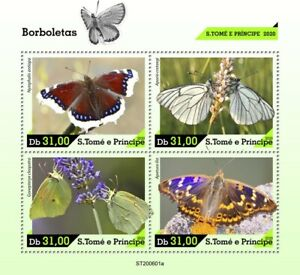 Sao Tome & Principe Butterflies Stamps 2020 MNH Cleopatra Butterfly 4v M/S