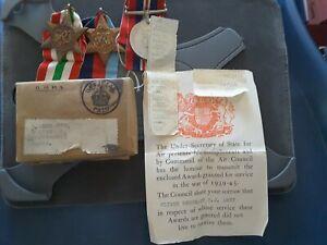 World War 2 RAF Medals Plus Casualty Slip To FLIGHT SERGEANT F. J. AMEY.