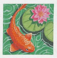 *NEW*  Koi with Pink Waterlily handpainted Needlepoint Canvas by Labors of Love