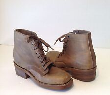 DURANGO WOMENS LACE UP ANKLE BOOTS BOOTIES SHOES SZ 5 1/2M BEIGE LEATHER RD921