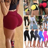 Women Capri Cropped Yoga Fitness Shorts Pants Leggings Gym Running Workout Sport